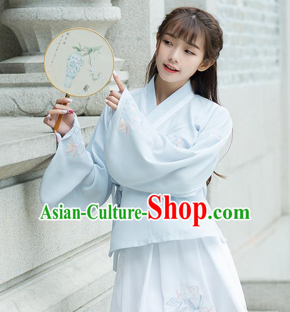 Traditional Ancient Chinese Costume, Elegant Hanfu Clothing Embroidered Slant Opening Blue Blouse, China Ming Dynasty Princess Elegant Blouse Shirts for Women
