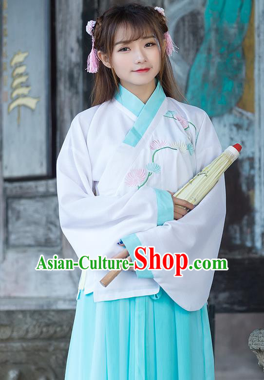 Traditional Ancient Chinese Costume, Elegant Hanfu Clothing Embroidered Slant Opening Blue Blouse, China Tang Dynasty Princess Elegant Blouse for Women