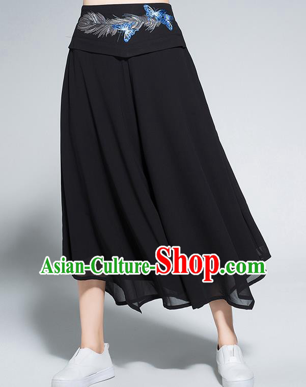 Traditional Chinese National Costume Loose Pants, Elegant Hanfu Embroidered Belt Chiffon Black Wide leg Pants, China Ethnic Minorities Tang Suit Ultra-wide-leg Trousers for Women