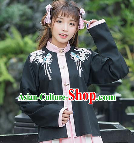 Traditional Ancient Chinese Costume, Elegant Hanfu Clothing Embroidered Stand Collar Black Blouse, China Ming Dynasty Princess Elegant Blouse for Women