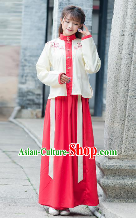 Traditional Ancient Chinese Costume, Elegant Hanfu Clothing Embroidered Sun-top Blouse and Dress, China Ming Dynasty Princess Elegant Blouse and Skirt Complete Set for Women