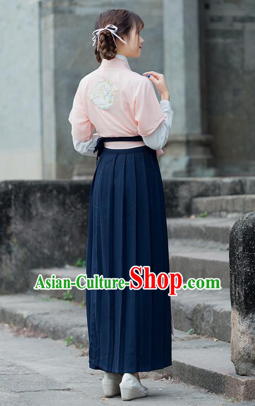 Traditional Ancient Chinese Costume, Elegant Hanfu Clothing Embroidered Slant Opening Blouse Cardigan and Dress, China Song Dynasty Princess Elegant Blouse and Skirt Complete Set for Women
