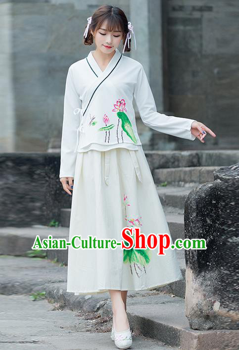 Traditional Ancient Chinese Costume, Elegant Hanfu Clothing Printing Lotus Slant Opening Blouse and Dress, China Ming Dynasty Palace Princess Elegant Blouse and Skirt Complete Set for Women