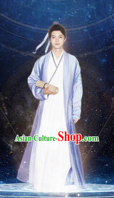 Chinese Ancient Tang Dynasty Scholar Costume and Headpiece Complete Set, Fighter of the Destiny Traditional Chinese Ancient Nobility Childe Prince Clothing for Men