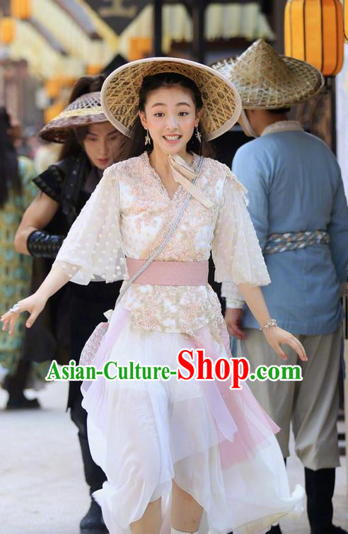 Asian Chinese Ancient Tang Dynasty Princess Costume and Headwear, Fighter of the Destiny Traditional Chinese Ancient Young Lady Swordsman Clothing Complete Set