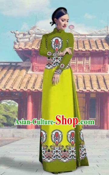 Traditional Top Grade Asian Vietnamese Costumes Dance Dress and Pants, Vietnam National Female Printing Green Ao Dai Dress Cheongsam Clothing Complete Set for Women