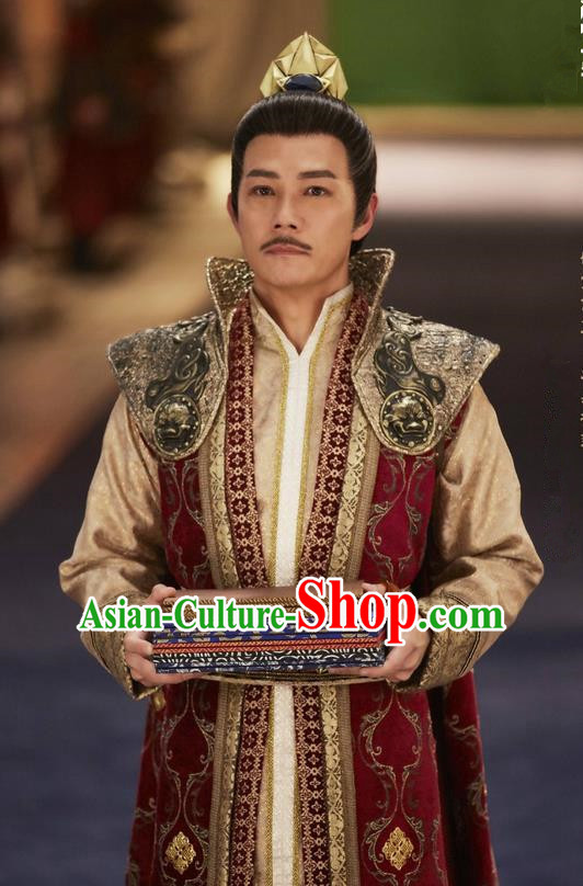 Traditional Chinese Ancient Tang Dynasty Minister Costumes and Headpiece Complete Set, Fighter of the Destiny Ancient Chancellor Clothing for Men