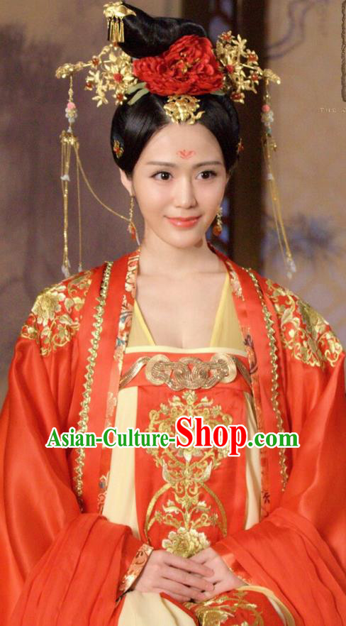 Traditional Chinese Ancient Wedding Costumes and Handmade Headpiece Complete Set, The Glory of Tang Dynasty Imperial Concubine Bride Trailing Dress Clothing for Women