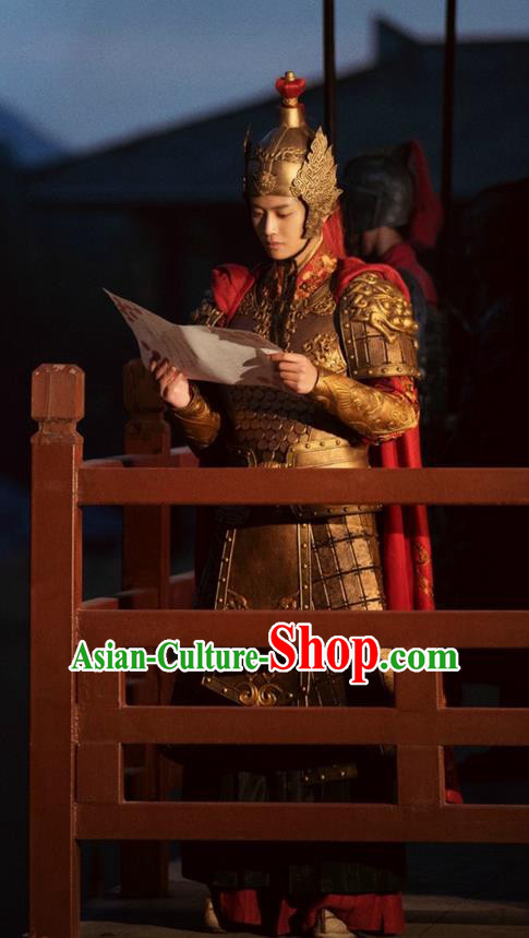 Traditional Chinese Ancient General Helmet and Armour Complete Set, The Glory of Tang Dynasty Soldier Corselet Clothing for Men