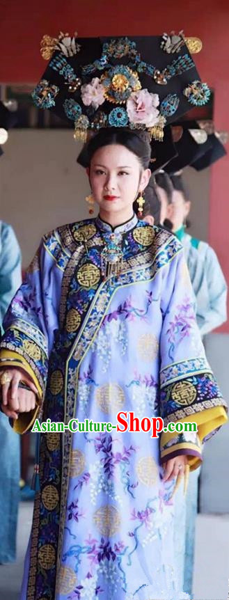Traditional Chinese Ancient Qing Dynasty Manchu Imperial Concubine Costume and Headpiece Complete Set, Above The Clouds Chinese Mandarin Robes Queen Nobility Embroidered Clothing for Women
