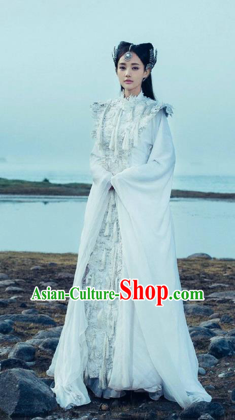 Traditional Chinese Ancient Shang Dynasty Princess Costume and Headwear, China Mythology Television Zhao Ge Ancient Goddess Clothing Complete Set for Women
