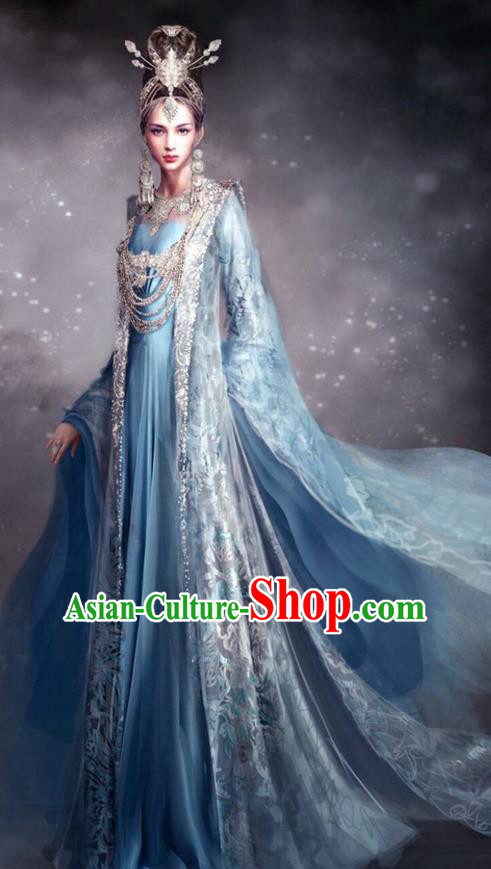 Traditional Chinese Ancient Shang Dynasty Imperial Consort Dance Costume, China Mythology Television Zhao Ge Ancient Palace Queen Clothing and Headwear Complete Set for Women