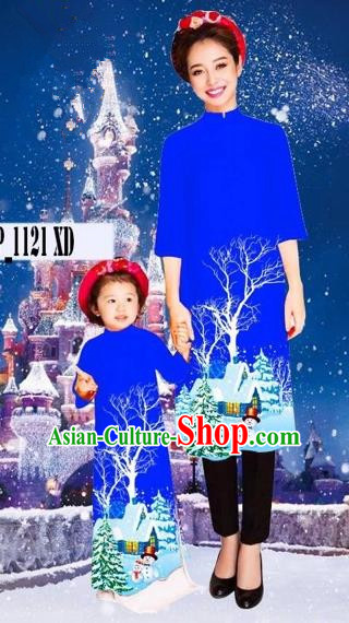 Traditional Top Grade Asian Vietnamese Costumes Classical Printing Christmas Royalblue Full Dress, Vietnam National Ao Dai Dress Mother-daughter Cheongsam for Women for Kids