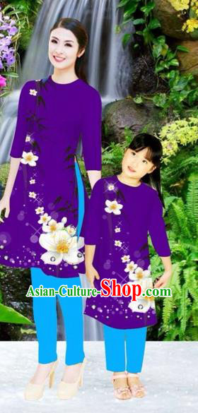 Traditional Top Grade Asian Vietnamese Costumes Classical Printing Flowers Purple Full Dress, Vietnam National Ao Dai Dress Mother-daughter Cheongsam for Women for Kids