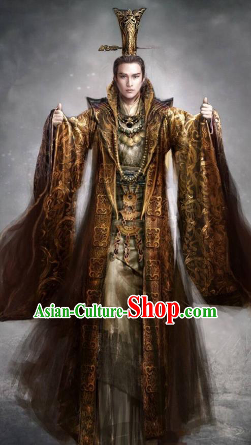 Traditional Chinese Ancient Shang Dynasty Imperial Emperor Costume, China Mythology Television Zhao Ge Ancient Majesty Robes Clothing and Handmade Headpiece Complete Set