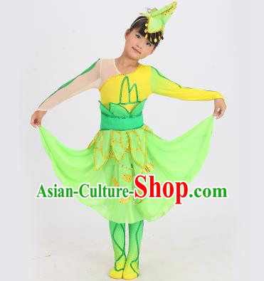 Traditional Chinese Classical Dance Yangge Fan Dance Costume, Children Lotus Dance Drum Dance Uniform Yangko Green Dress Complete Set for Kids