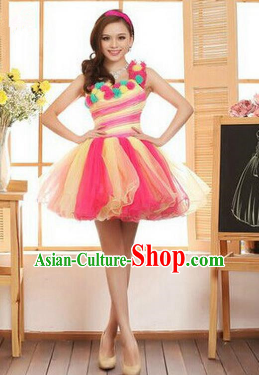 Top Grade Classic Stage Performance Chorus Singing Group Dance Costumes, Chorus Competition Costume, Compere Rose Bubble Dress for Women