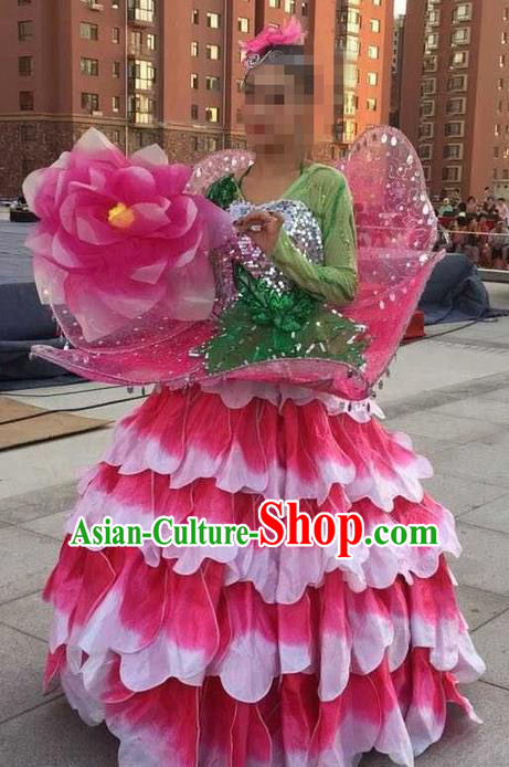 Traditional Chinese Modern Dancing Costume, Women Opening Classic Chorus Peony Flowers Dance Costume, Folk Dance Modern Dance Long Dress for Women