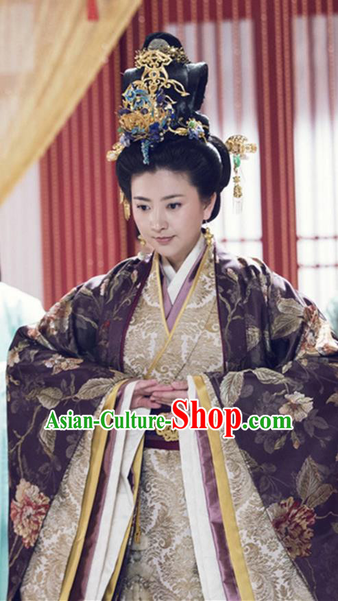 Traditional Chinese Ancient Warring States Time Imperial Empress Tailing Embroidered Costume, Song of Phoenix Queen Hanfu Clothing and Handmade Headpiece Complete Set for Women