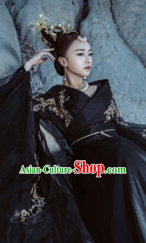 Traditional Chinese Ancient Shang Dynasty Imperial Consort Dance Costume, China Mythology Television Zhao Ge Ancient Imperial Concubine Clothing and Headwear Complete Set for Women