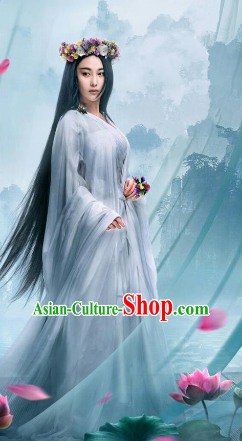 Traditional Chinese Ancient Warring States Time Imperial Princess Tailing Costume, Song of Phoenix Peri Fairy Hanfu Clothing and Handmade Headpiece Complete Set for Women