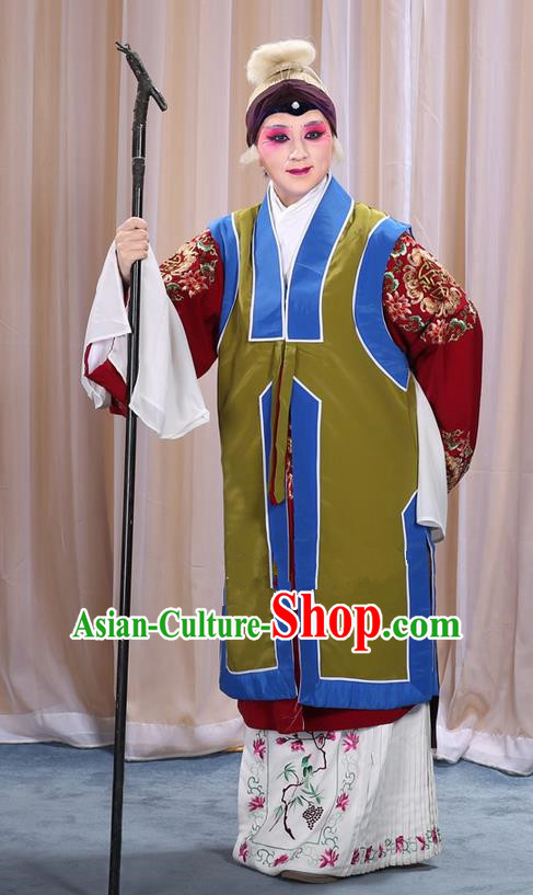Traditional Chinese Beijing Opera Old Female Green Vest and Robes Complete Set, China Peking Opera Pantaloon Costume Embroidered Clothing Opera Costumes