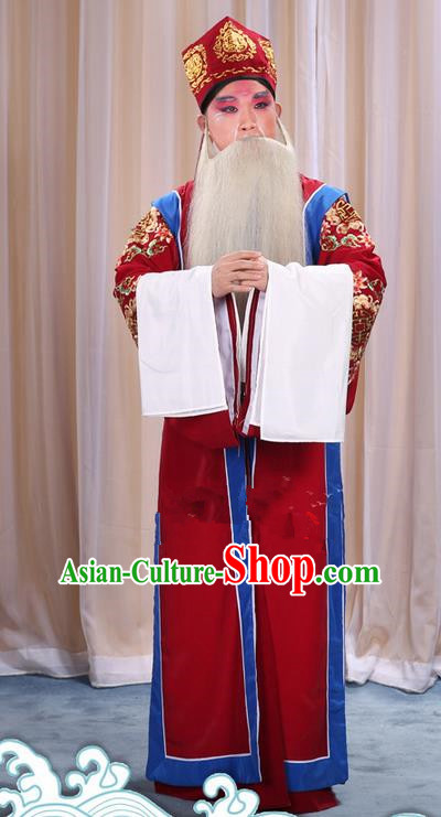 Traditional Chinese Beijing Opera Old Male Red Long Vest and Clothing Complete Set, China Peking Opera Laosheng-role Costume Embroidered Clothing Opera Costumes