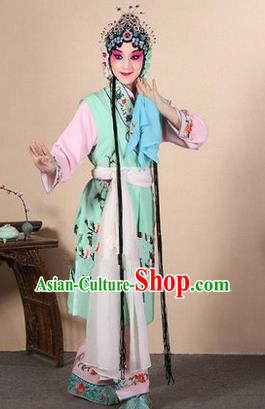 Traditional Chinese Beijing Opera Shaoxing Opera Young Female Green Vest Clothing Complete Set, China Peking Opera Diva Role Hua Tan Costume Embroidered Opera Costumes