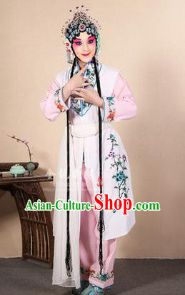Traditional Chinese Beijing Opera Shaoxing Opera Young Female White Vest Clothing Complete Set, China Peking Opera Diva Role Hua Tan Costume Embroidered Opera Costumes