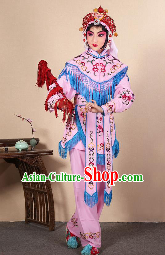 Traditional Chinese Beijing Opera Shaoxing Opera Magic Warriors Pink Clothing and Shoes Complete Set, China Peking Opera Women Pawn Dress Costume Embroidered Opera Costumes
