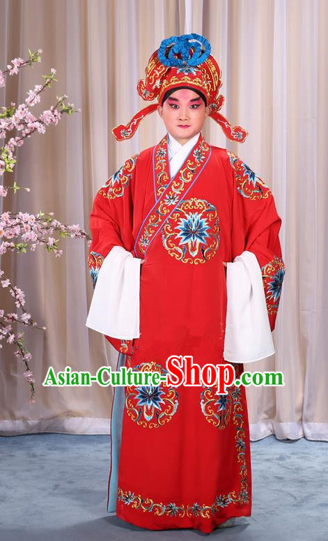Traditional Chinese Beijing Opera Takefu Red Clothing Complete Set, China Peking Opera Martial General Role Costume Embroidered Opera Costumes