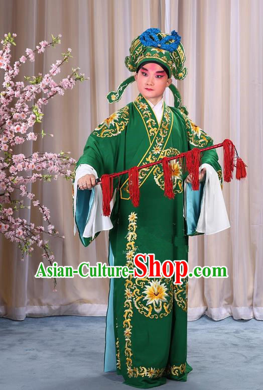 Traditional Chinese Beijing Opera Takefu Green Clothing Complete Set, China Peking Opera Martial General Role Costume Embroidered Opera Costumes