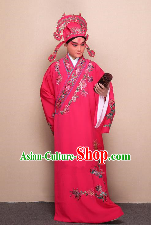 Traditional Chinese Beijing Opera Niche Rosy Dress Clothing Complete Set, China Peking Opera Young Man Costume Embroidered Chrysanthemum Robe Opera Costumes
