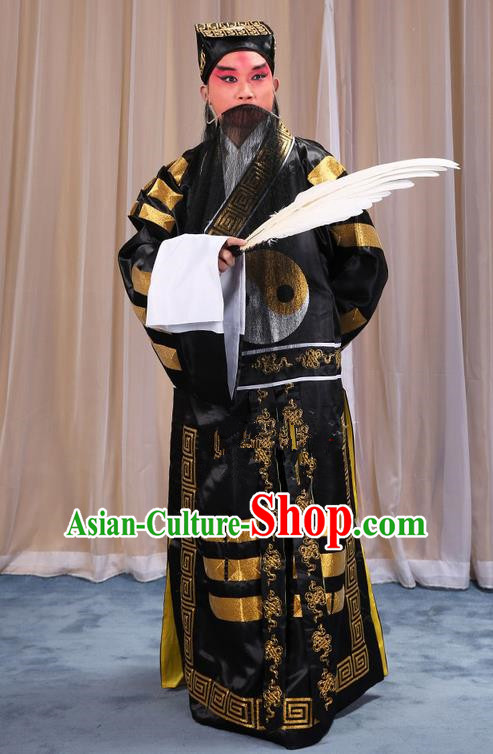 Traditional Chinese Beijing Opera Black Eight Diagrams Clothing and Boots Feather Fan Complete Set, China Peking Opera Zhuge Liang Costume Embroidered Military Counsellor Robe Opera Costumes