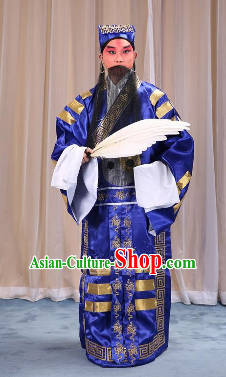 Traditional Chinese Beijing Opera Blue Eight Diagrams Clothing and Boots Feather Fan Complete Set, China Peking Opera Zhuge Liang Costume Embroidered Military Counsellor Robe Opera Costumes
