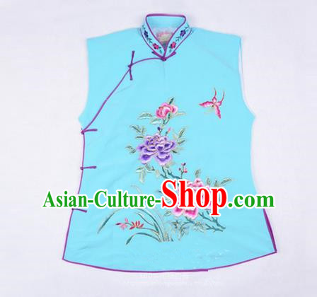 Traditional Chinese Beijing Opera Servant Girl Light Blue Vests, China Peking Opera Young Lady Costume Embroidered Opera Waistcoat Costumes