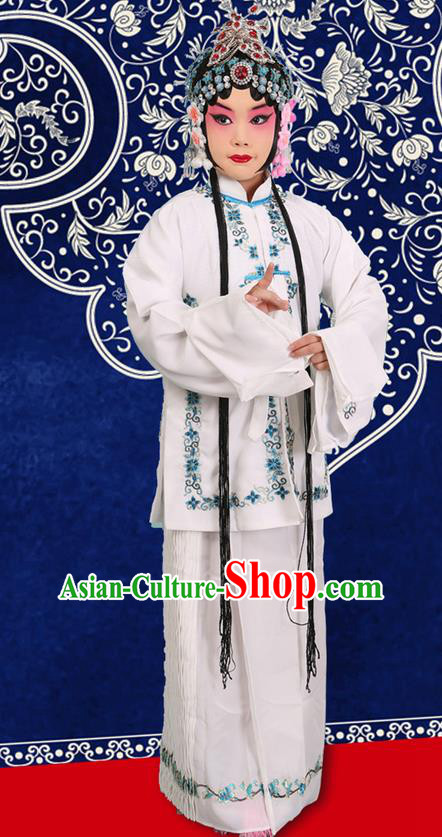 Traditional Chinese Beijing Opera Qingyi Role White Clothing and Headwear Shoes Complete Set, China Peking Opera Diva Role Hua Tan Costume Embroidered Opera Costumes for Kids