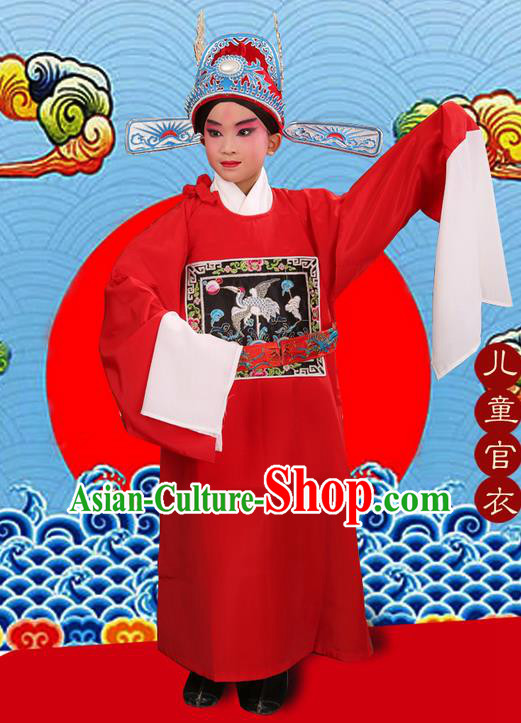 Traditional Chinese Beijing Opera Lang Scholar Red Clothing and Headwear Boots Complete Set, China Peking Opera Sesame official Costume Embroidered Robe Opera Costumes for Kids