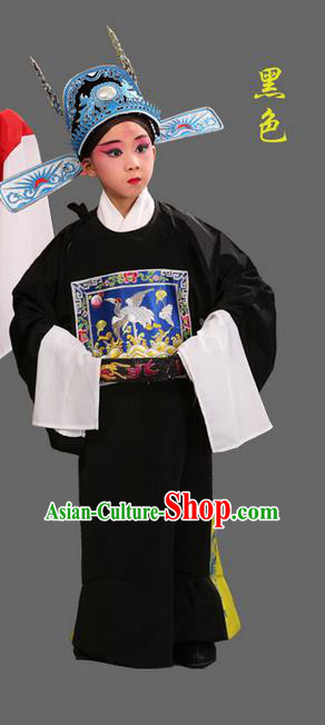 Traditional Chinese Beijing Opera Lang Scholar Black Clothing and Headwear Boots Complete Set, China Peking Opera Sesame official Costume Embroidered Robe Opera Costumes for Kids