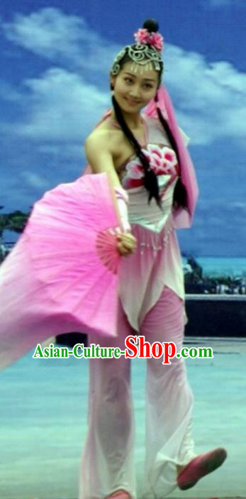 Traditional Chinese Yangko Dance Costume, Fan Dance Clothing, Umbrella Dance Dress for Women