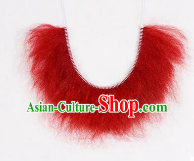 Chinese Ancient Opera Old Men Wig Beard, Traditional Chinese Beijing Opera Props Zhang Fei Red Mustache