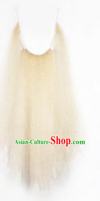 Chinese Ancient Opera Old Men Long Wig Beard, Traditional Chinese Beijing Opera Props Laosheng-role White Mustache