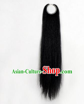 Chinese Ancient Opera Old Men Black Long Wig Beard, Traditional Chinese Beijing Opera Props Laosheng-role Mustache Pengtoucun False Beard