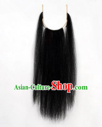 Chinese Ancient Opera Old Men Black Long Wig Beard, Traditional Chinese Beijing Opera Props Laosheng-role Mustache False Beard