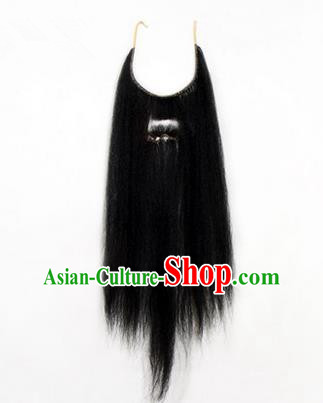 Chinese Ancient Opera Old Men Black Long Wig Beard Whiskers, Traditional Chinese Beijing Opera Props False Beard Laosheng-role Mustache