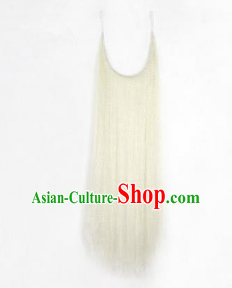 Chinese Ancient Opera Old Men White Long Wig Beard Whiskers, Traditional Chinese Beijing Opera Props Laosheng-role Mustache