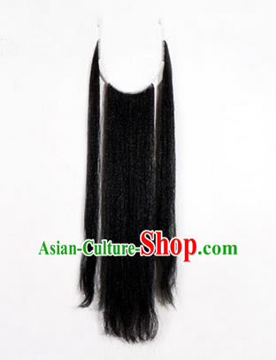 Chinese Ancient Opera Old Men Black Long Wig Beard Three Strands Whiskers, Traditional Chinese Beijing Opera Props Laosheng-role Mustache