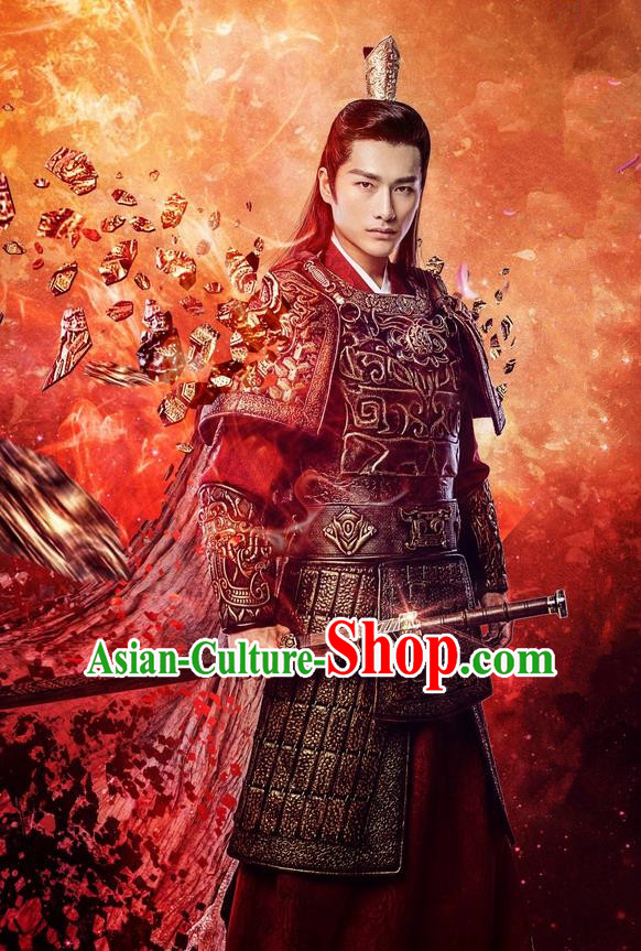 Traditional Chinese Song Dynasty Soldier General Armour Costume Complete Set, China Ancient Warrior Clothing for Men