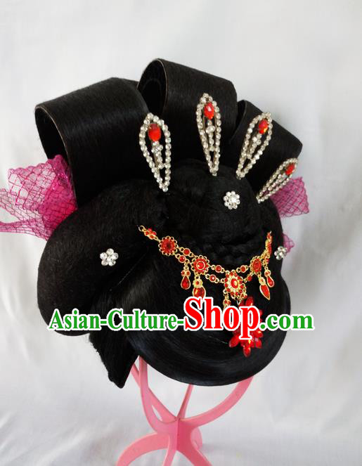 Traditional Chinese Peking Opera Lady Yang Wigs and Hair Accessories Complete Set, China Tang Dynasty Yang Guifei High-grade Headwear for Women