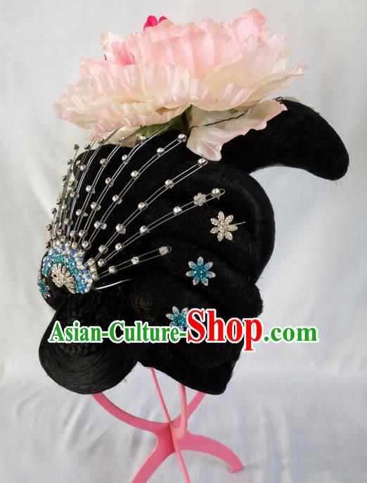 Traditional Chinese Peking Opera Imperial Concubine Wigs and Hair Accessories Complete Set, China Tang Dynasty Palace Lady High-grade Headwear for Women
